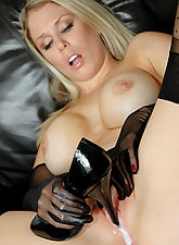 high heel pumps, Jamie masturbates with her high heels and nylon gloves
