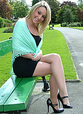 stocking divas, Cheeeky blonde Hannah is wearing her sexy high heels outdoors in the sunshine