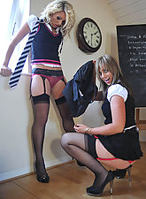 stocking, These schoolgirls cannot help stripping off all their uniforms