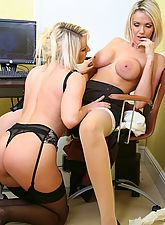 Lesbian Secretaries Kelly And Sara In Stockings